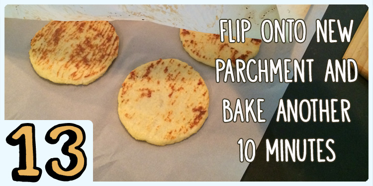 Flip onto new parchment paper and bake another 10 minutes
